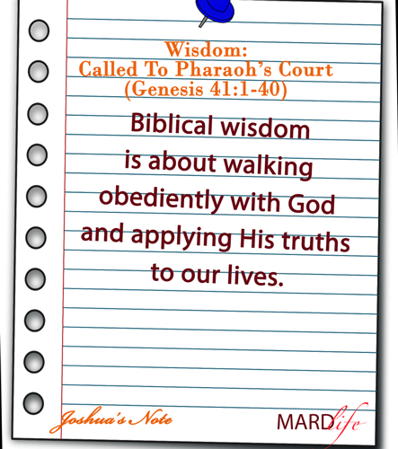 Wisdom: Called To Pharaoh's Court (Genesis 41:1-40) – JOSHUA'S NOTE