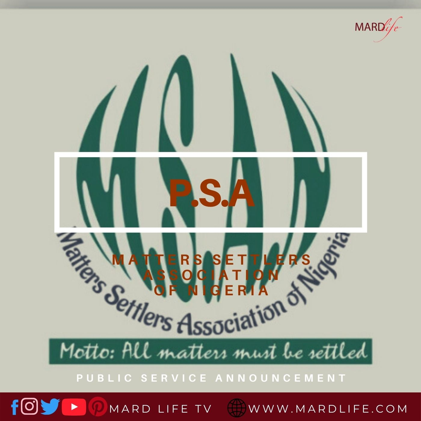 PSA: Matters Settlers Association Of Nigeria